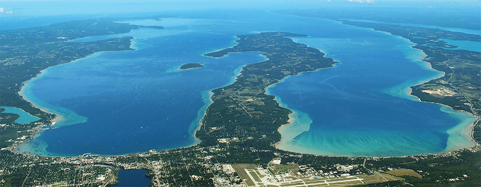 Aerial view of Old Mission Peninsula