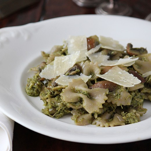 Farfalle with Roasted Chicken, Mushrooms & Winter Pesto