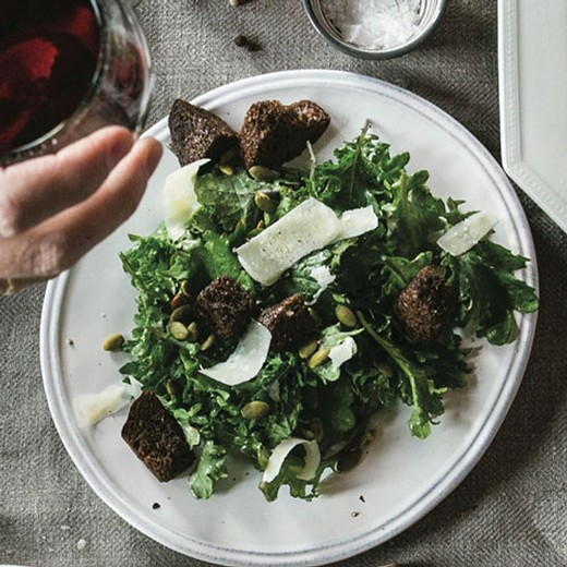 Creamy Kale Caesar with Pumpkin Seeds & Pumpernickel