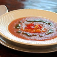 Heirloom Tomato Gazpacho with Basil Oil