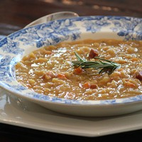 Yellow Split Pea Soup with Pancetta & Rosemary